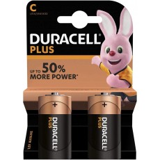 Duracell Plus Power Batteries with Voltage 1.5V - Size C Pack of 2