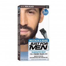 Just For Men M55 Moustache and Beard Facial Hair Colour Gel, Real Black