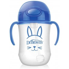 Dr. Brown's Baby's First Straw Cup in Blue with Straw Cleaning Brush - 270ml