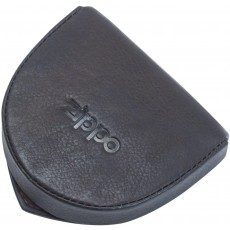 Zippo Genuine Men's Coin Pouch in Black Leather with Gift Box - 8cm