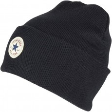 Converse Accessories Basic Beanie Hat in Black with Core Tall Cuff - One Size