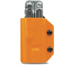 Clip & Carry Kydex Multitool Sheath Orange Carbon Fibre for Leatherman Free P4