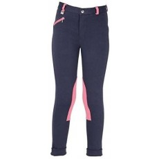 Hyperformance Belton Children's Jodhpurs in Navy & Salmon Pink