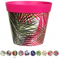 Hum Flowerpots Plant Pot in Bright Pink Palm Repeat Plastic - 25cm x 25cm