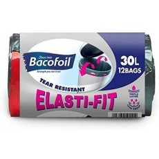 Bacofoil Elasti-Fit Kitchen Bin Liners with Elastic Tie Handles - 30l x 12 Bags
