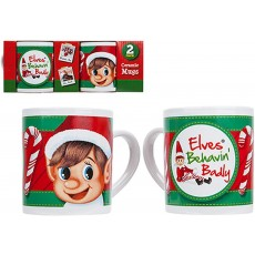 Elves Behaving Badly Ceramic Mugs with Elf Fun Novelty Stocking Filler - 2 Pack