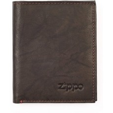 Zippo Genuine Vertical Wallet Coin Pouch in Mocha Leather - 12cm