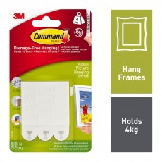 Command Picture Strips in White - Damage Free Hanging in Medium - Pack of 12