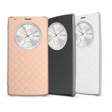 Kosee Qi Induction Wireless Charging Flip Book Case for LG G4 featuring Quick Circle Built-in Module - Black / Gold / White