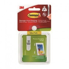 Command Picture Strips in White - Damage Free Hanging in Small - Pack of 12