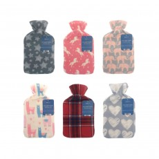 Country Club Hot Water Bottle with Soft Fleece Cover - Mixed