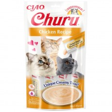 Inaba Ciao Churu lick-able puree treat for cats Chicken Pack of 4 x 14g Tubes