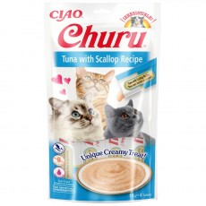 Inaba Ciao Churu lick-able puree treat for cats Tuna & Scallop Pack of 4 x 14g Tubes