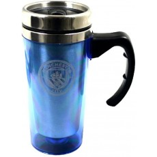 Manchester City Football Club Travel Mug in Blue Aluminium with Printed Logo