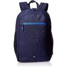 Puma Buzz Backpack in Navy with Zipped Side Pockets and Horseshoe Zip Closure