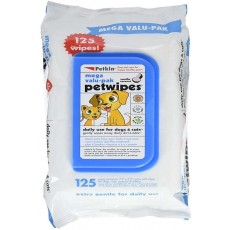 Petkin Mega Value Pet Wipes for Dogs and Cats - Vanilla & Coconut - Pack of 125