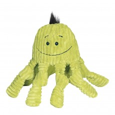 HuggleHounds Plush Corduroy Durable Squeaky Knottie- Octopus