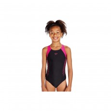 Speedo Girl's Boom Splice Muscleback Swimsuit Black/Pink, 28