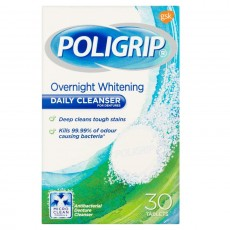 Poligrip Overnight Whitening Daily Cleanser - 30 Tablets