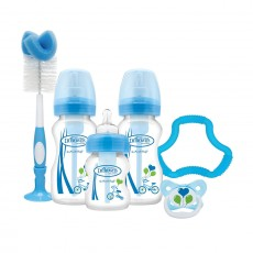 Dr Brown's Natural Flow Options + Bottles, Soother, Teether and Brush - Blue