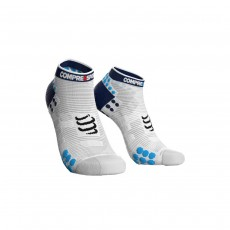 Compressport Pro Racing Sock V3.0 Run Low - White/ Blue, T1
