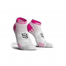 Compressport Pro Racing Sock V3.0 Run Low - White/ Pink, T4
