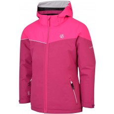 Dare 2b Kid's Ski & Snowboard Jacket in Pink with Foldaway Hood - 7 / 8