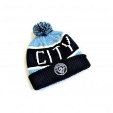 Manchester City FC Official Calgary Bronx Knitted Bobble Hat - Navy