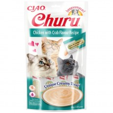 Inaba Ciao Churu lick-able puree treat for cats Chicken & Crab Pack of 4 x 14g Tubes