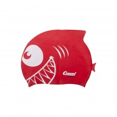 Cressi Shark Silicone Kids Cap Swimming - Red