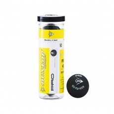 Dunlop 'Pro' Squash Ball, Double Yellow Dot - Tube of 3