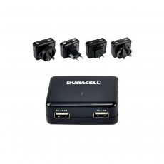 Duracell Dual USB World Travel Adapter with Plugs for UK/EU/US/AU - Black