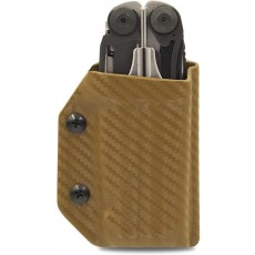 Clip & Carry Kydex Multitool Sheath in Carbon Fibre Brown for Leatherman Surge