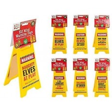 Elves Behaving Badly Elf Mini Warning Sign - Christmas Decorations - 6 Assorted