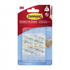 Command Mini Clear Hooks with Clear Strips in Plastic - Damage Free Hanging