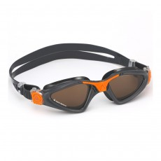 Aqua Sphere 'Kayenne' Men's Swimming/Triathlon Goggles - Grey/Orange with POLARIZED Lens