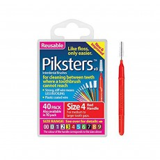 Piksters Interdental Brushes Size 4 Red 40 Pack