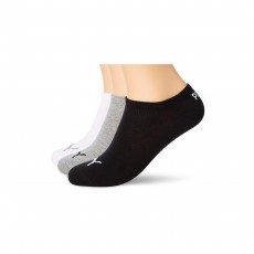 Puma Unisex Sneaker Invisible Socks (3 Pairs) - Grey/White/Black, 2.5-5