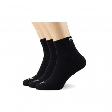 Puma Unisex Quarter Training Socks (3 Pairs) - Black, 9-11