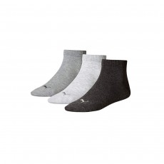 Puma Unisex Quarter Training Socks (3 Pairs) - Grey, 2.5-5
