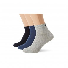 Puma Unisex Quarter Training Socks (3 Pairs) - Navy Mix, 9-11