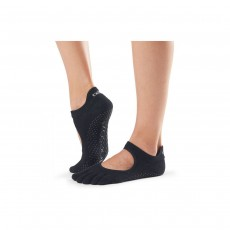 Toesox Ballerina Full Toe Grip Socks - Black, Large (9-11)