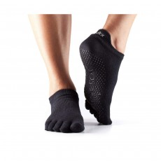 Toesox Low Rise Full Toe Socks, Medium (6-8.5) - Black