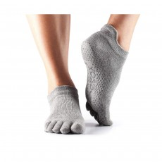 Toesox Low Rise Full Toe Socks, Small (3.5-5.5) - Heather Grey