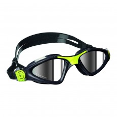 Aqua Sphere 'Kayenne' Men's Swimming/Triathlon Goggles - Grey/Lime with Mirror Lens