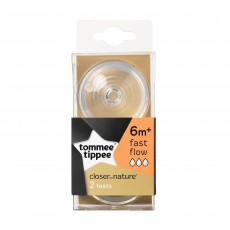 Tommee Tippee Closer to Nature Set of 2 Natural Rubber Teats Fast Flow (6 months+)