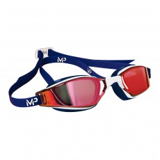 Aqua Sphere Michael Phelps  'XCEED' Men's Swimming/Triathlon Goggles - White/Blue with Titanium Red Mirror Lens