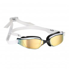 Aqua Sphere Michael Phelps  'XCEED' Men's Swimming/Triathlon Goggles - White/Black with Titanium Gold Mirror Lens