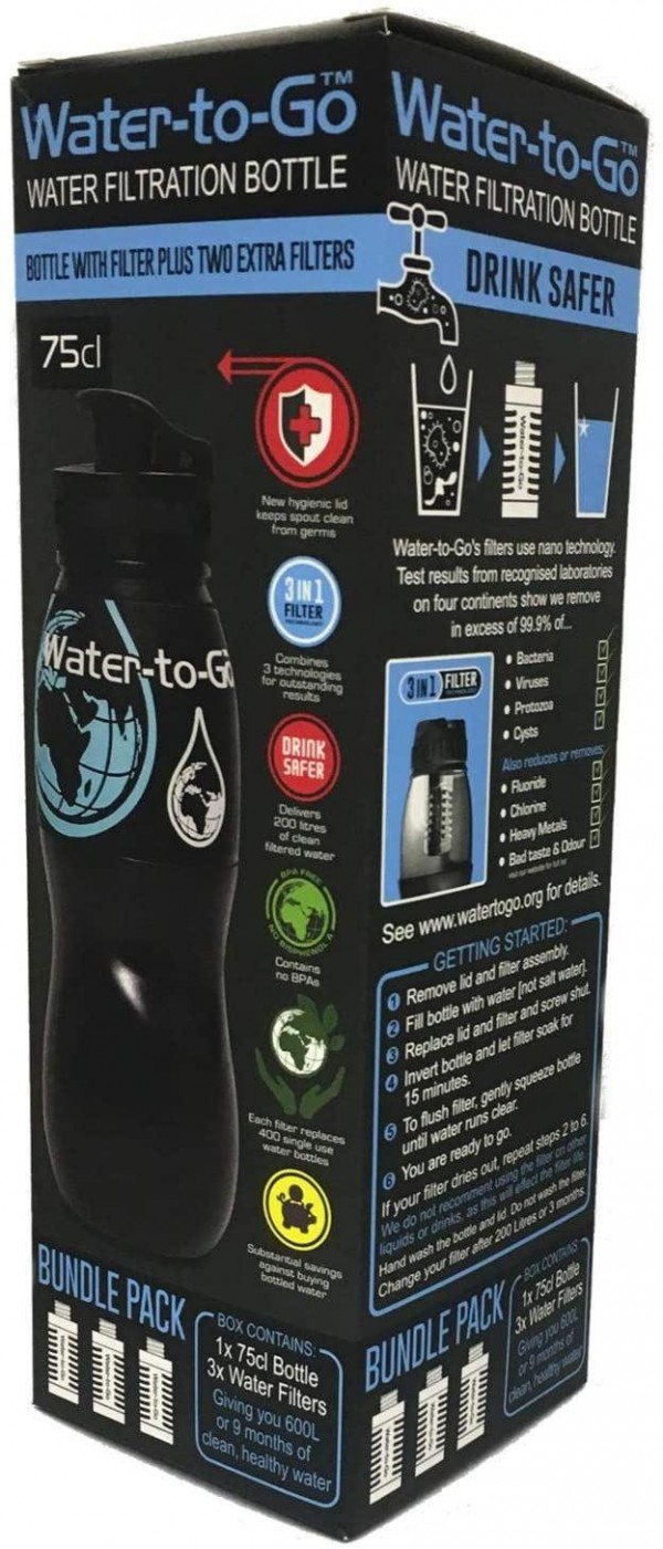 Keeblecare Water to Go Water Bottle Pro Bundle Hygienic Lid & 2 Extra Filters