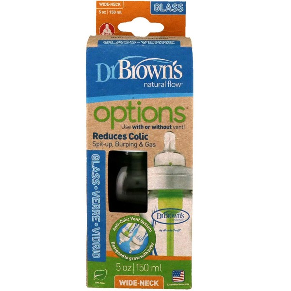 Dr Browns Options Anti- Colic Vent System Wide Neck Glass Baby Bottle